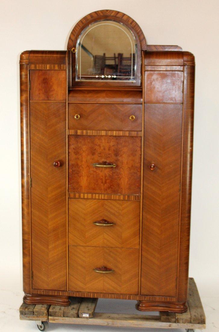 Art Deco cabinet with mirror and interior secretary