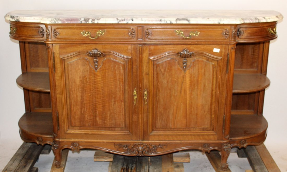 French Louis XV style walnut curved side sideboad