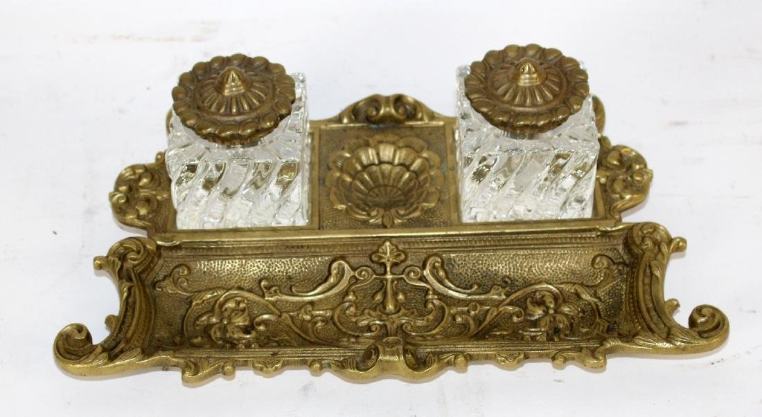 Gilt bronze double inkwell