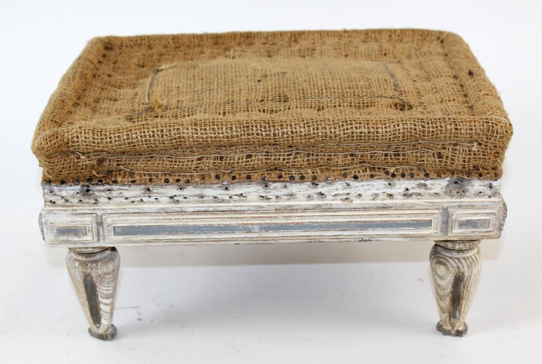 French painted footstool