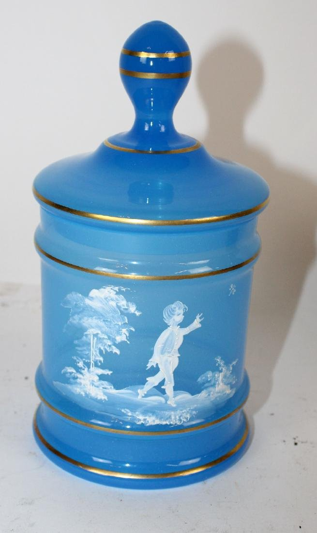Victorian blue glass painted jar