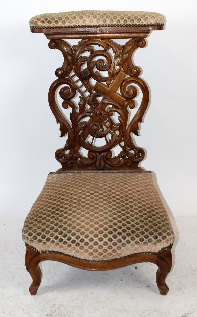 French Gothic prayer bench in carved walnut