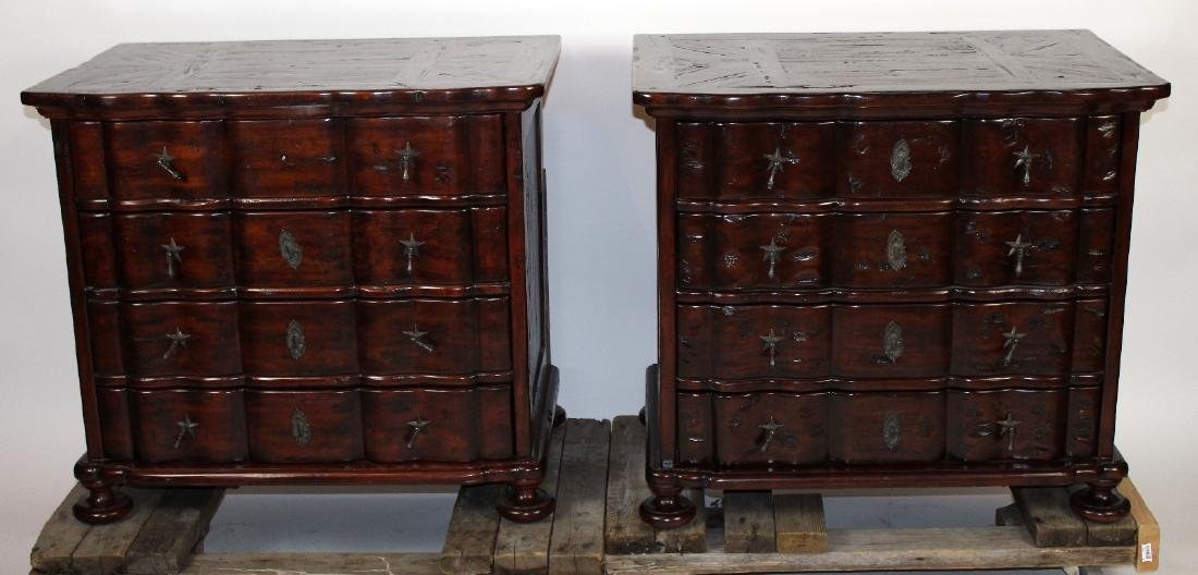 Pair mahogany block front chest of drawers