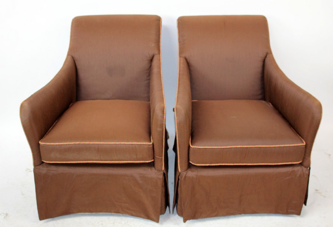 Pair of EJ Victor brown upholstered armchairs