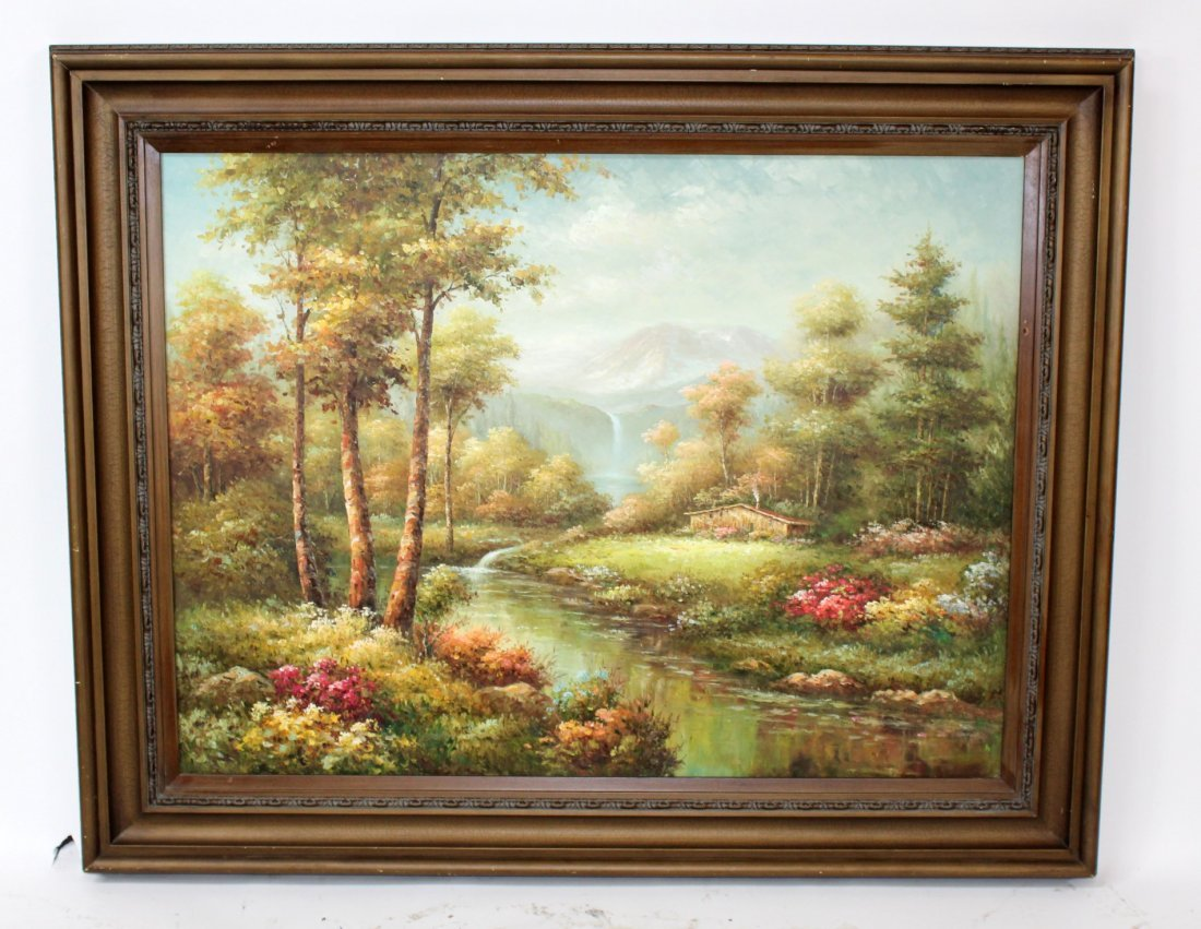 Oil on canvas depicting landscape scene