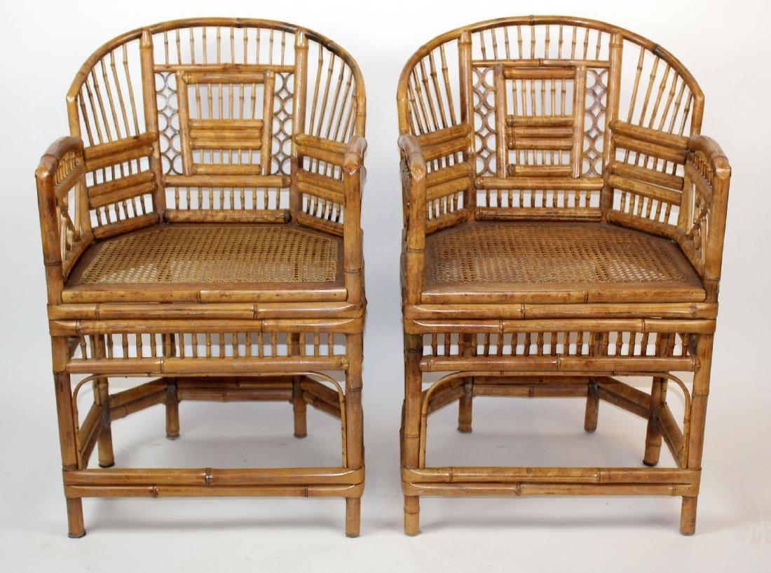 Pair of Brighton Pavilion bamboo armchairs