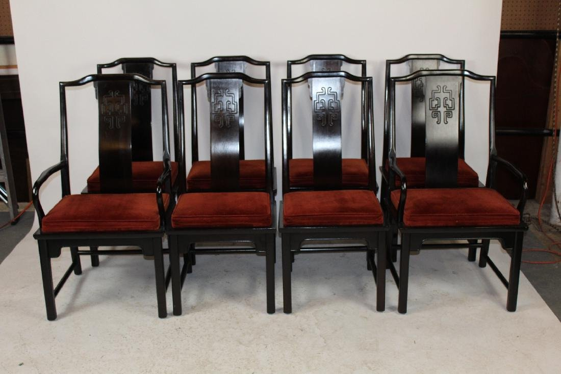 Set of 8 Century Ming style dining chairs