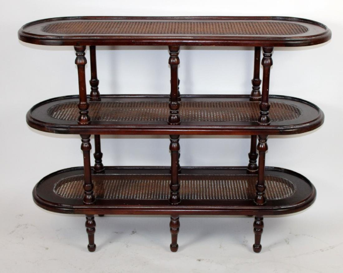 3-tier mahogany oval etagere with caned shelves
