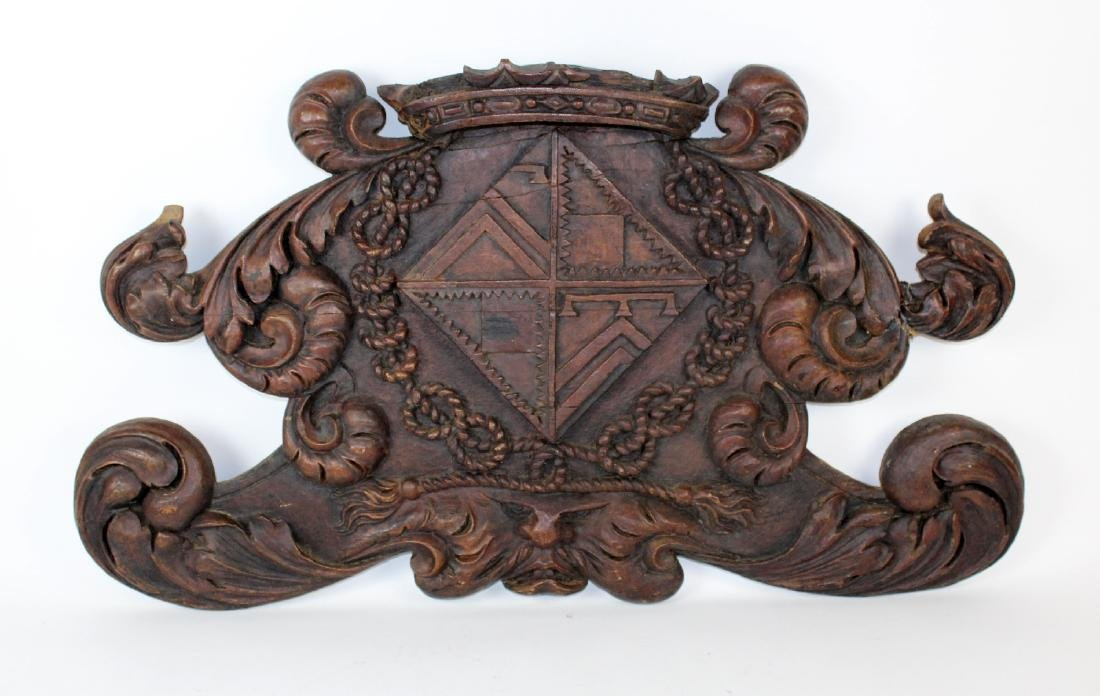 Antique French carved crest coat of arms
