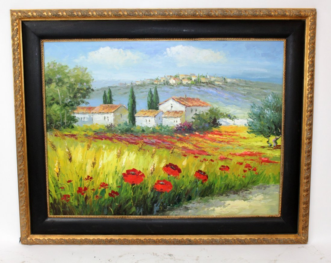 Oil on canvas depicting Tuscan landscape