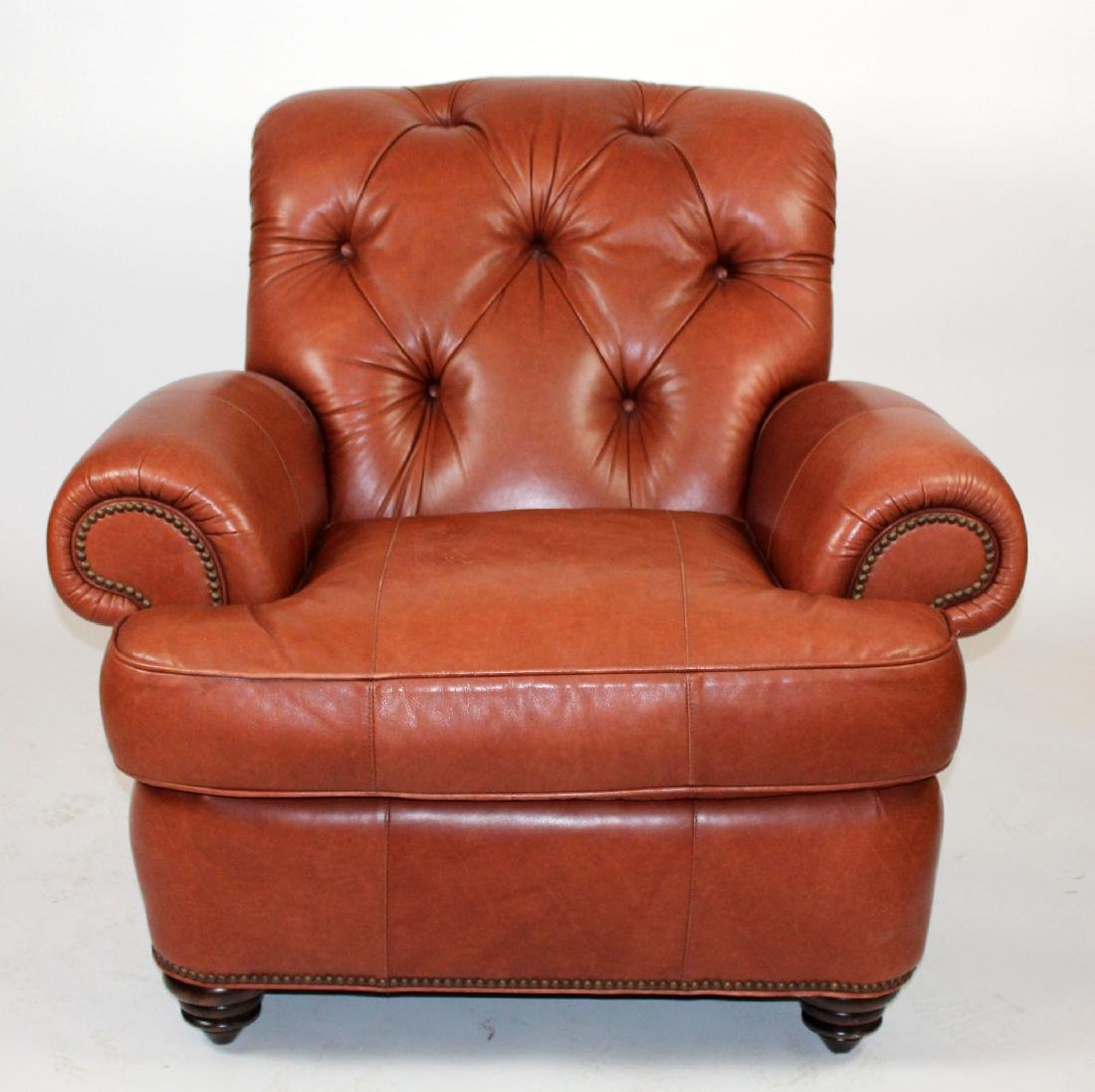 Tufted leather club chair by Mayo Traditions