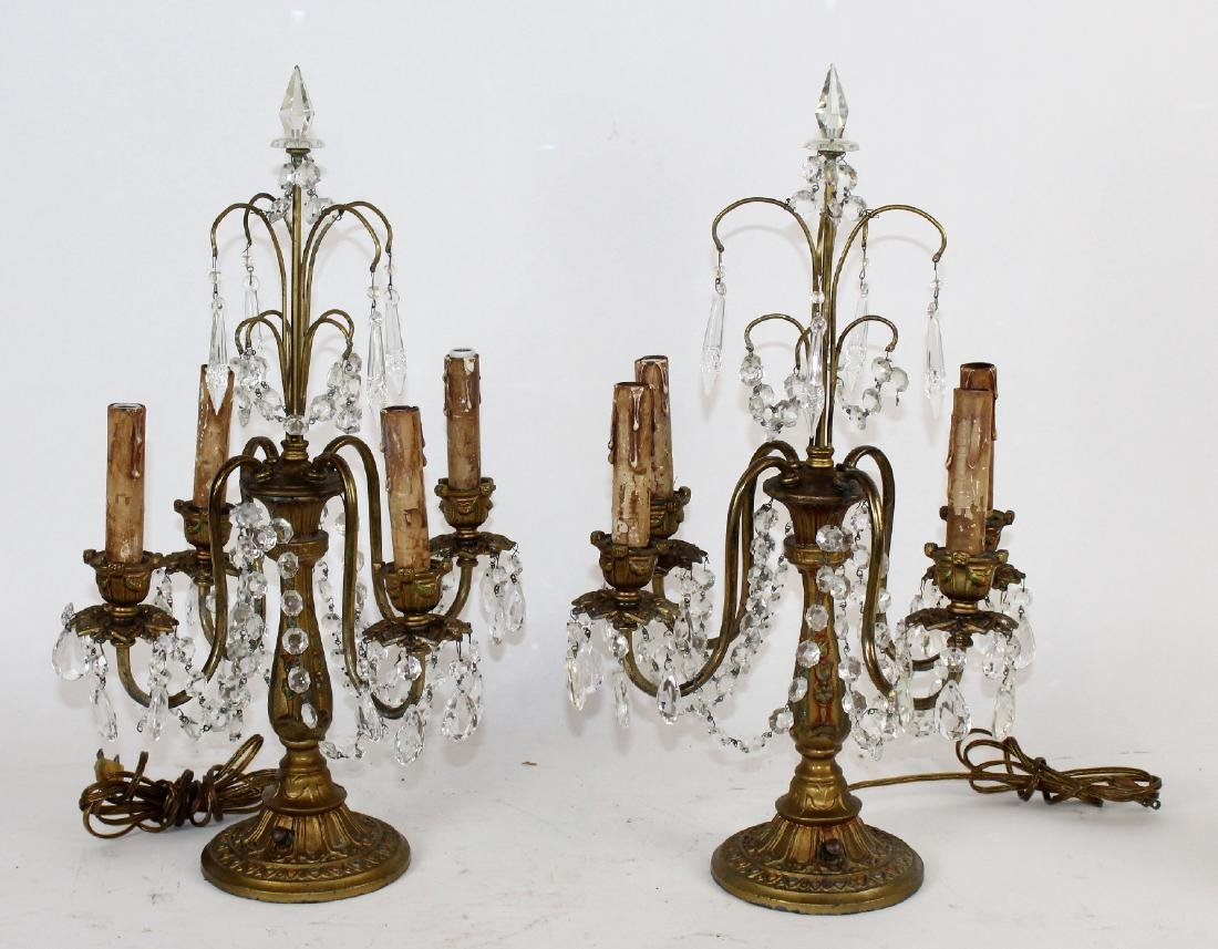 Pair of crystal and brass 4-arm girandoles