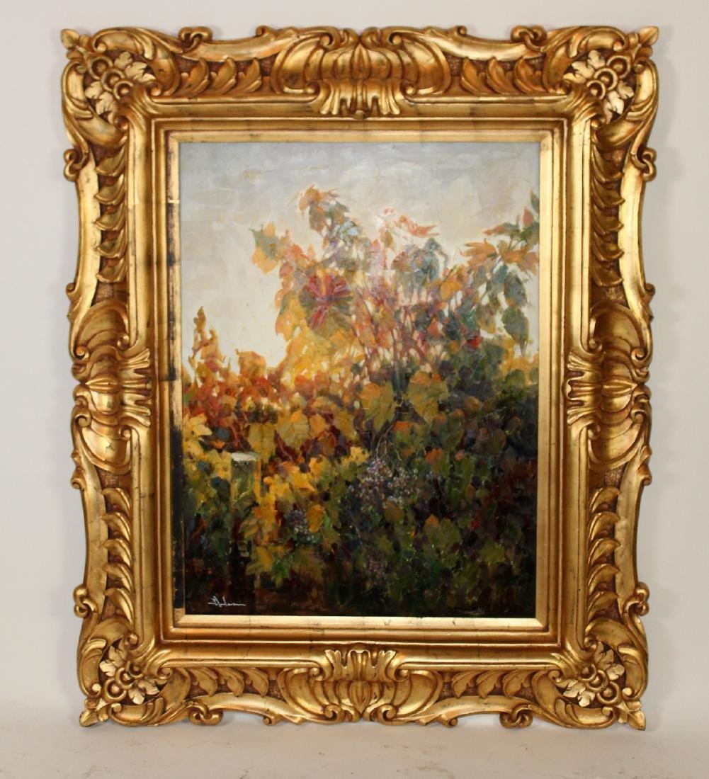 Oil on canvas grapevine vineyard scene