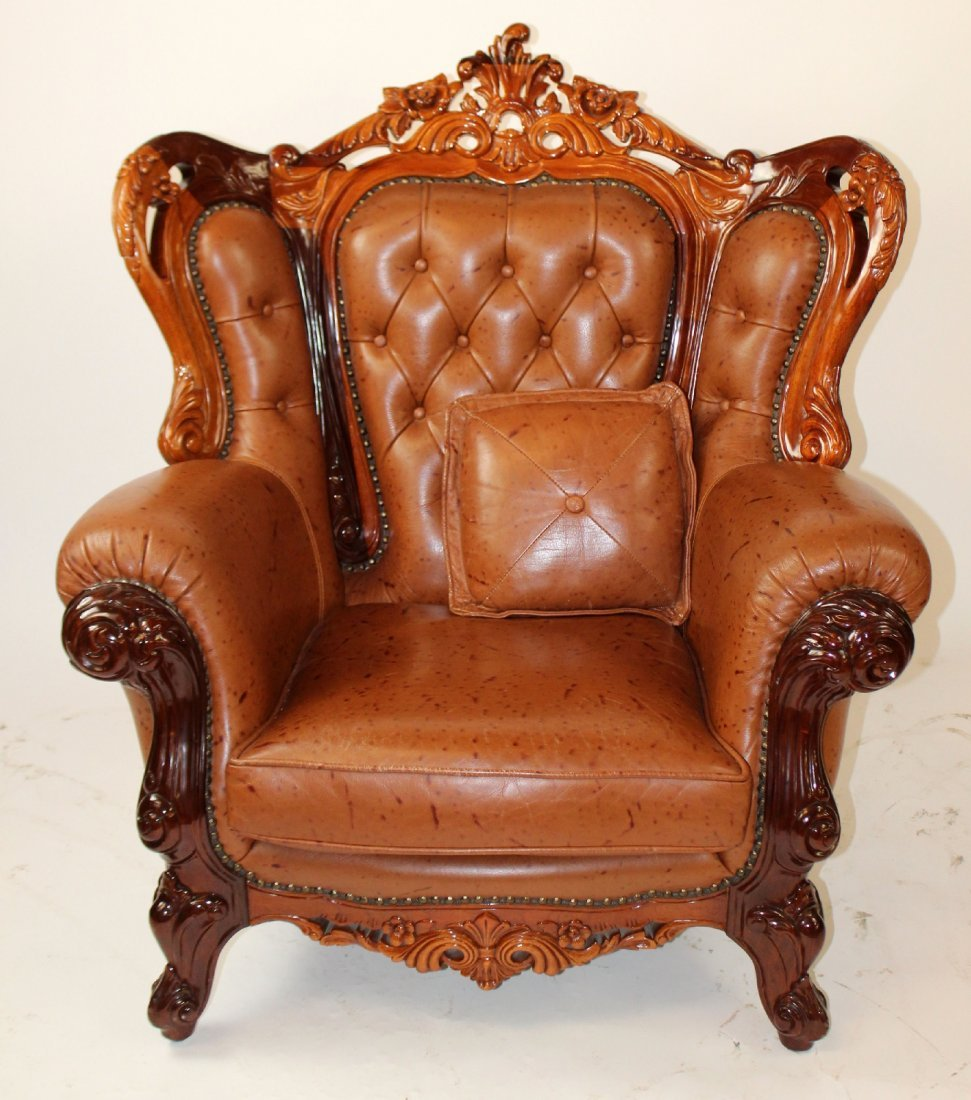 Rococo style tufted leather armchair