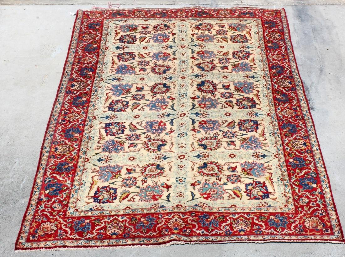 "6'8"" x 10'4"" Persian Isfahan wool carpet"