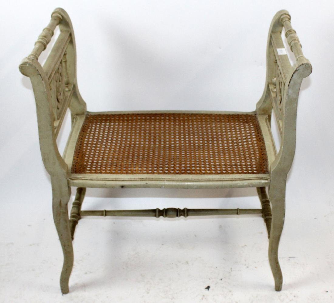 French Louis XVI style bench with caned seat