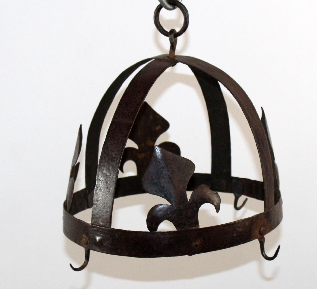 French wrought iron pot rack with fleur de lys