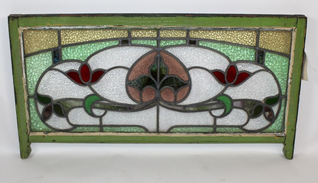 Stained and leaded glass cottage transom window