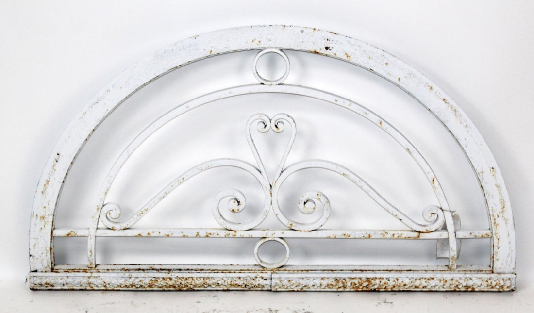 White painted iron demi lune transom
