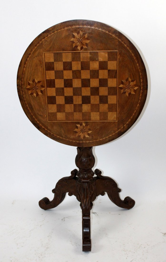 French inlaid flip top game table