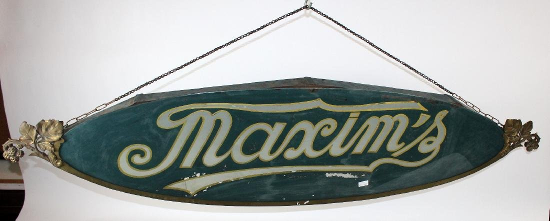 French Art Nouveau reverse painted glass Maxim's sign