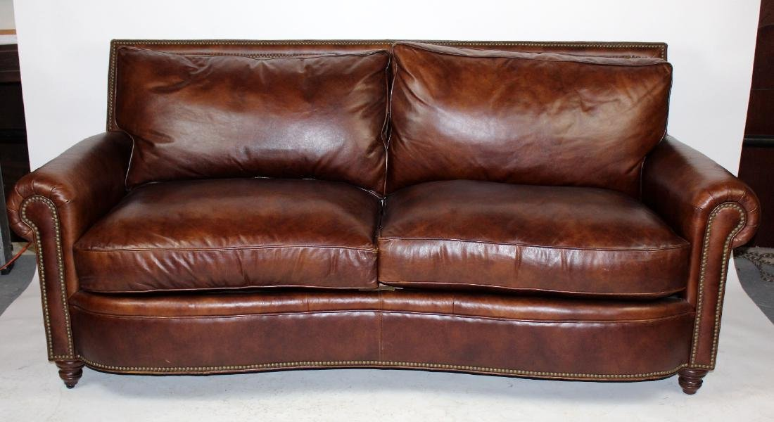 Studded Brown leather sofa