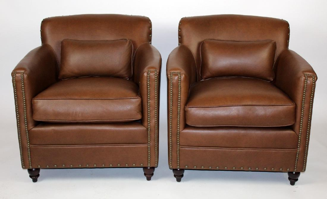 Pair of Vanguard leather club chairs
