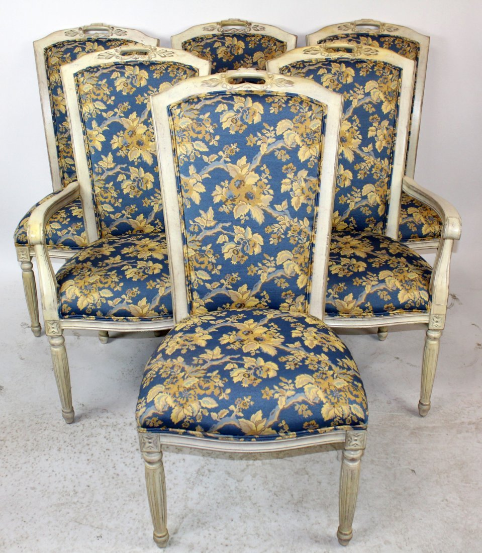 Set of 6 dining chairs with floral upholstery