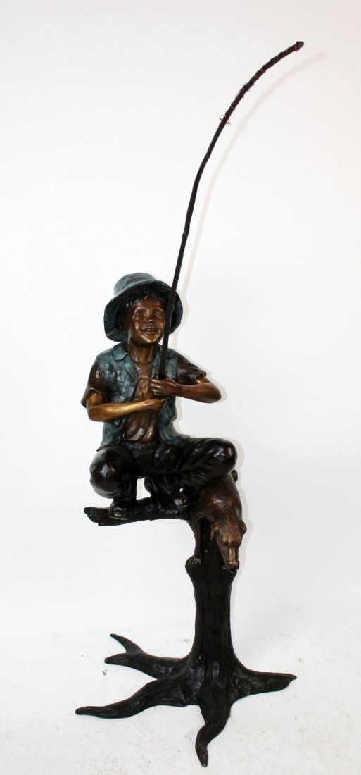 Bronze fountain depicting boy fishing
