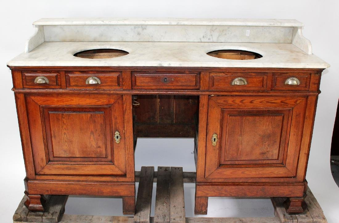 French pine double lavabo with marble top