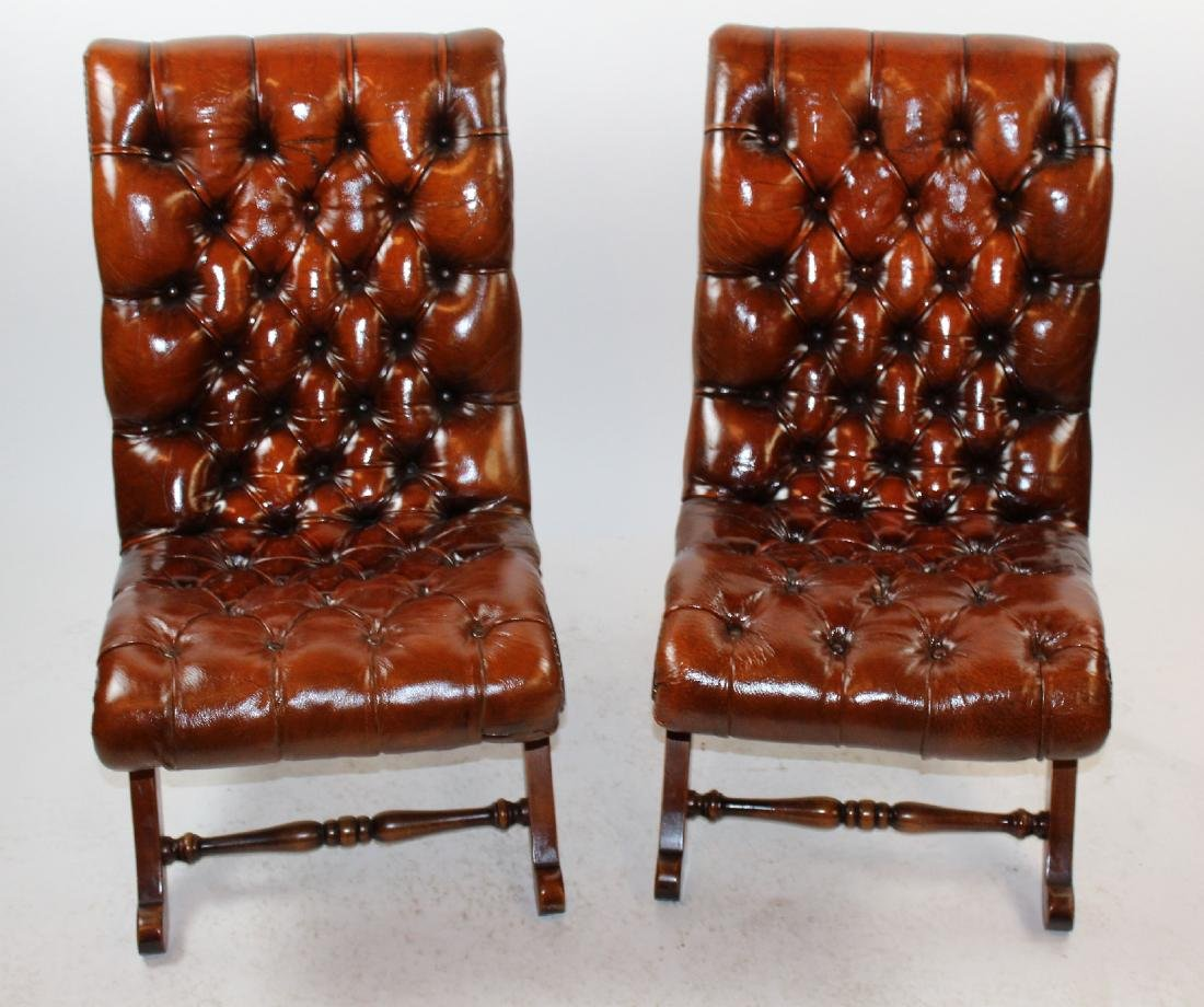 Pair Pierre Lottier for Valenti tufted leather chairs
