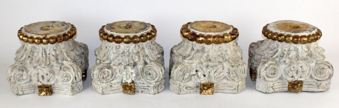 Lot of 4 Italian carved wood capitals
