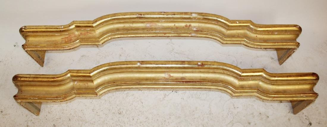 Pair of Italian shaped gold leaf valences