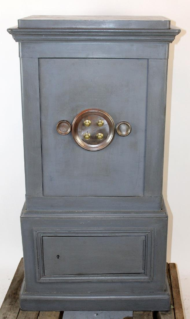 French grey painted combination floor safe