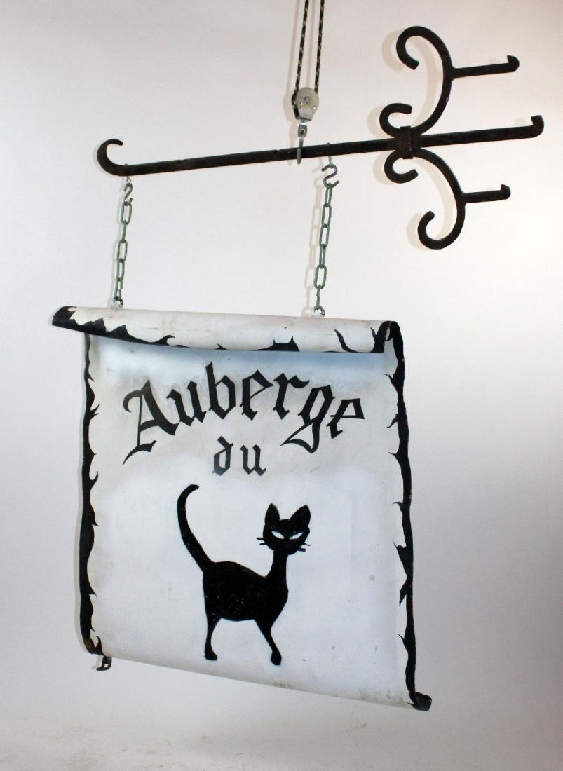 "French double sided iron pub sign ""Auberge du Chat"""