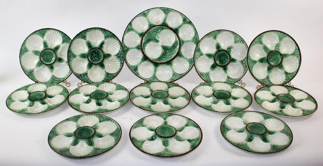 Set of 12 French oyster plates with platter