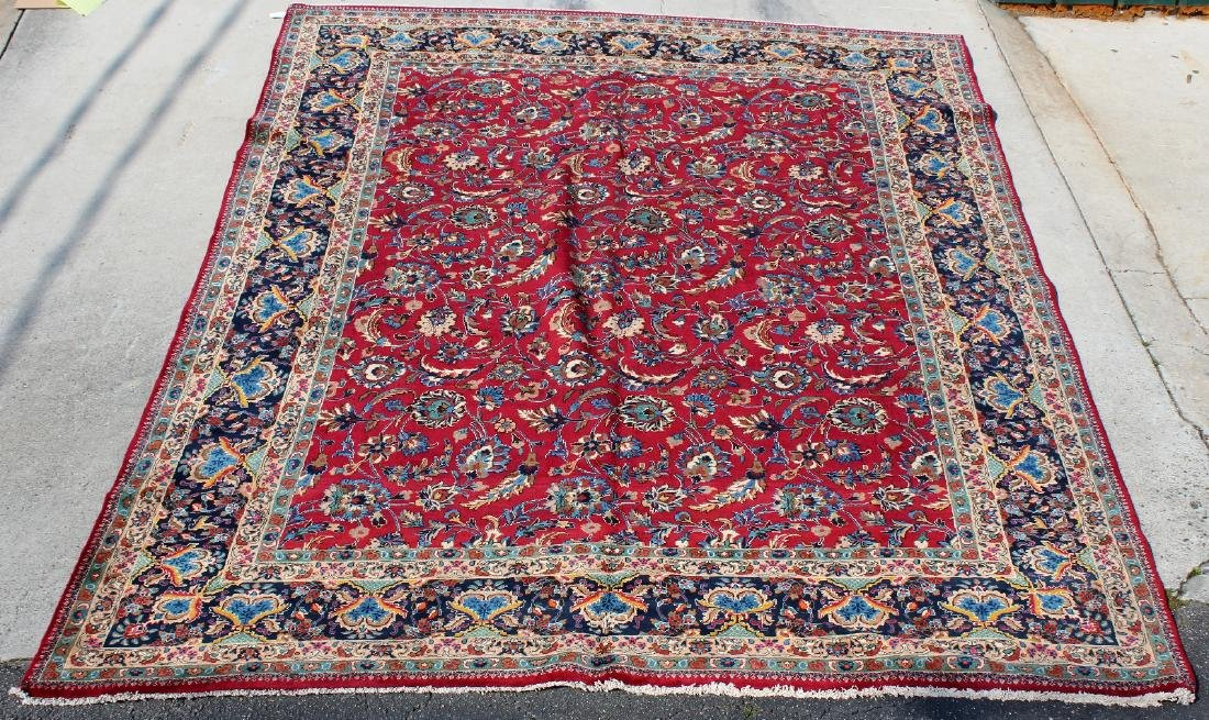 "9'7"" x 12'2"" Persian Mashad wool carpet"
