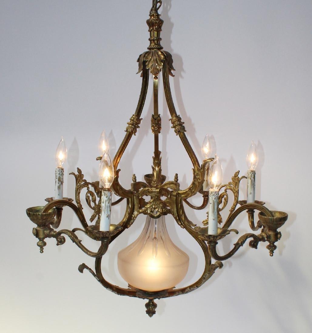 French gilt bronze 6-light chandelier