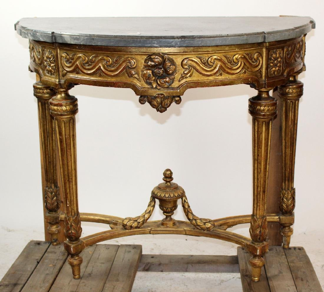French Louis XVI giltwood console with marble