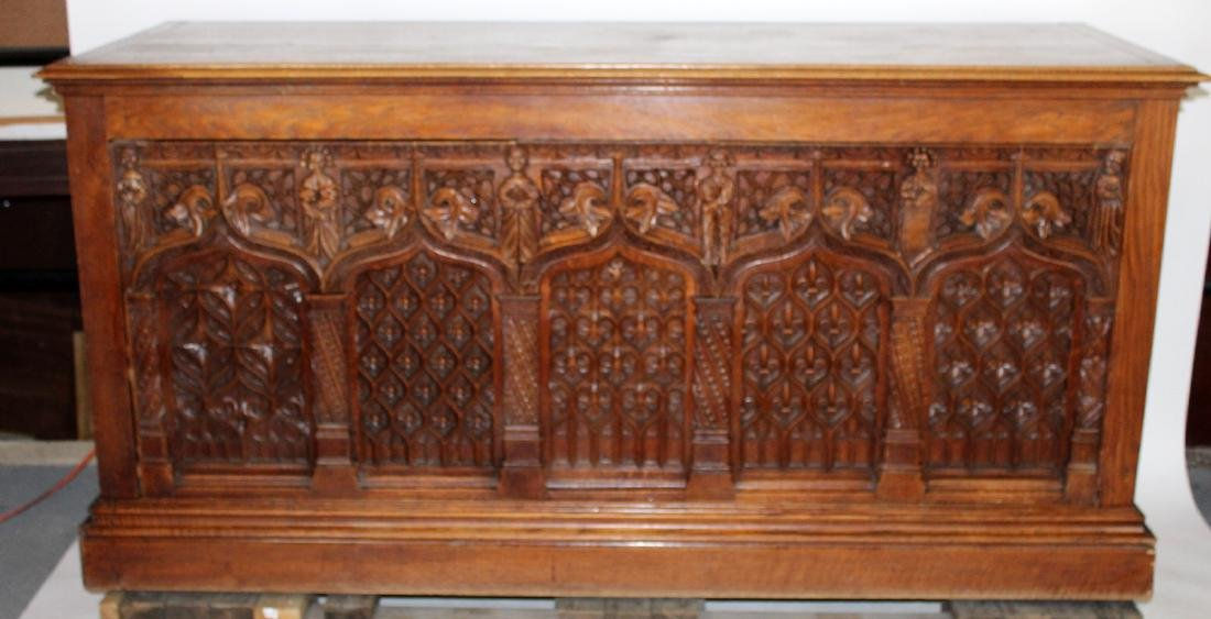19th c French Gothic trunk in carved oak