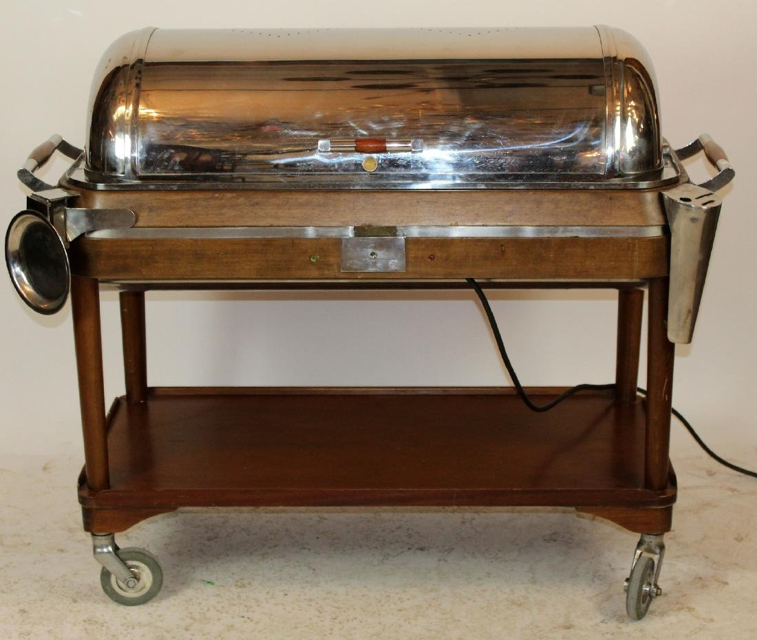 Italian Art Deco silver plate beef cart
