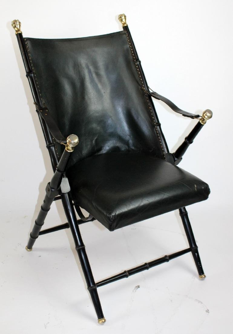 Valenti folding leather campaign chair