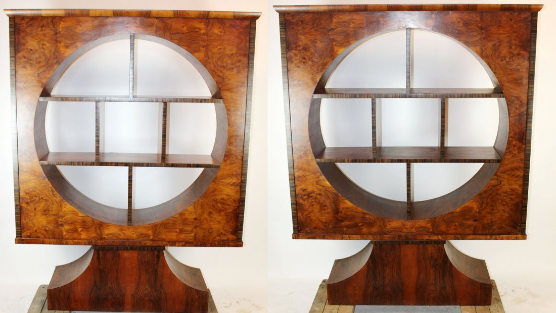 Pair of Italian Art Deco etagere bookcases