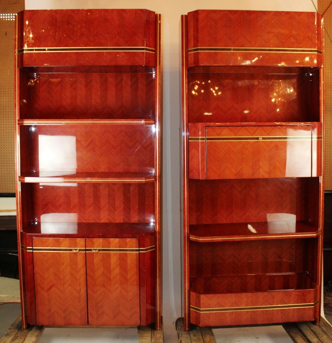Pair of Art Deco style lacquered Rosewood bookcases.