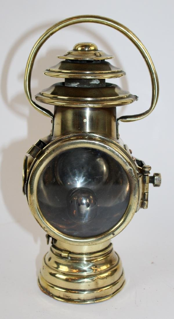 French polished brass oil car lamp