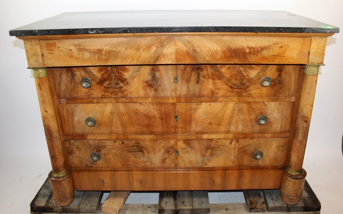 French Empire commode in burl walnut