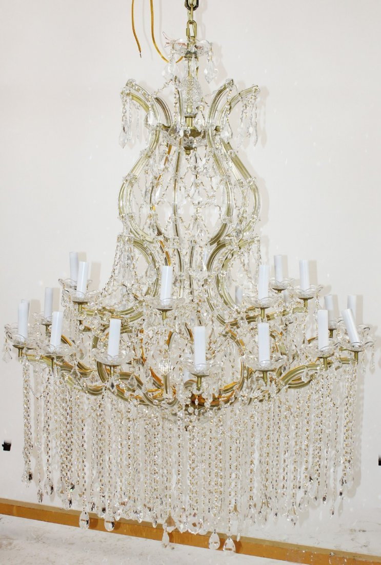 Large crystal tiered chandelier