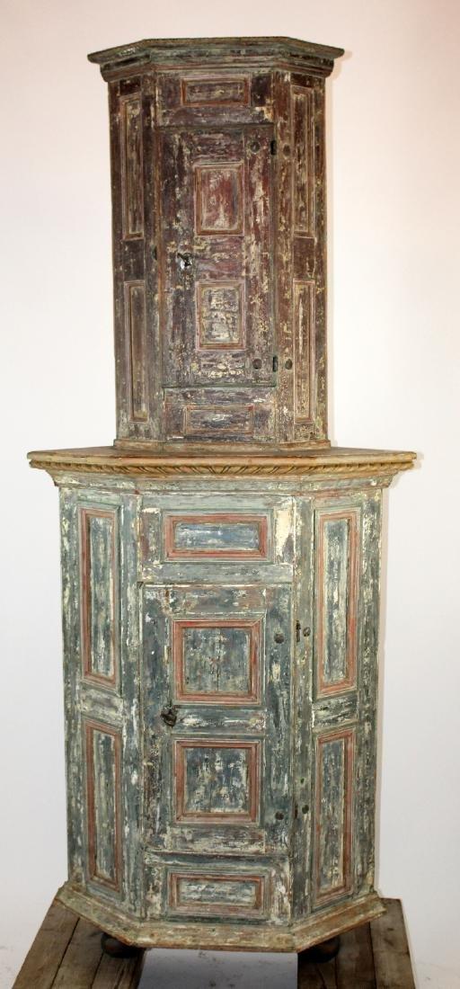 18th century Swedish painted corner cabinet