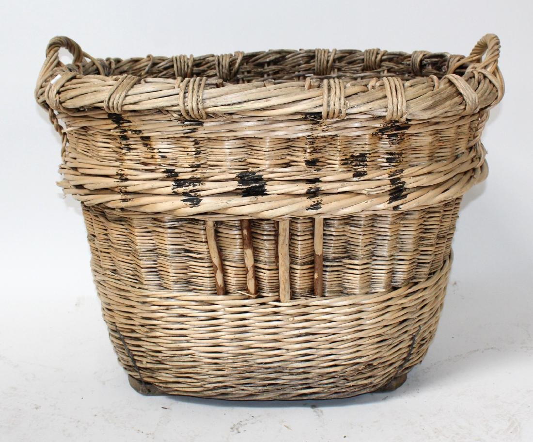 French oval wicker grape harvest basket