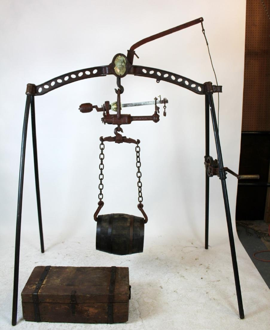Antique French iron barrel wine scale
